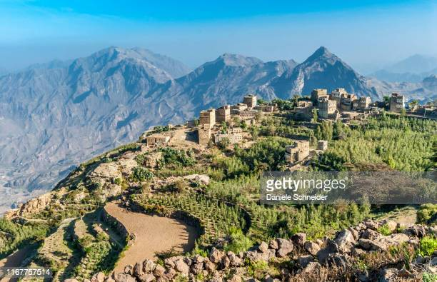 middle east, yemen, center west, jebel harraz region (unesco world heritage tentative list), village and terrace cultivations (shooting 03/2007) - yemen stock pictures, royalty-free photos & images
