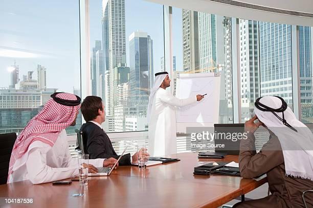 middle eastern businessman giving presentation - arabische kultur stock-fotos und bilder
