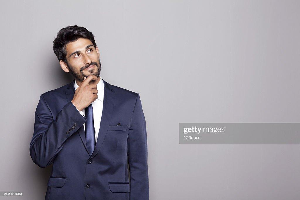 Middle Eastern Businessman Thinking : Stock Photo