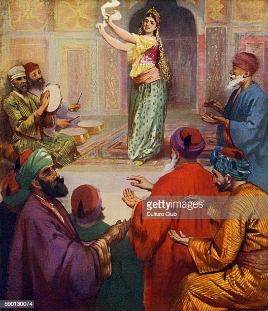 Middle Eastern dancer accompanied by musicians 1913 illustration based on travel in the Holy Land