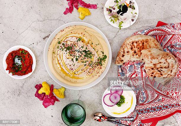 middle eastern food - dipping sauce stock photos and pictures