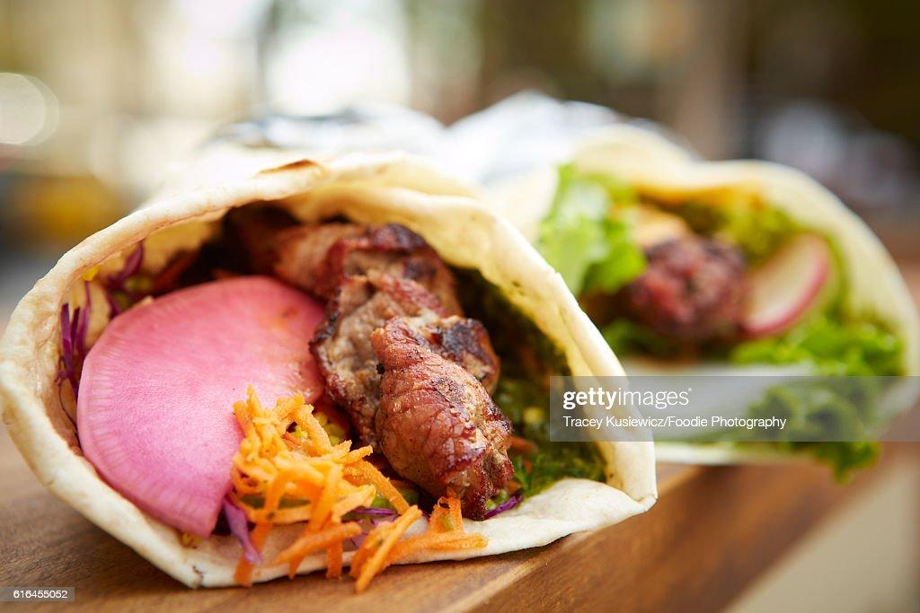 Middle eastern Lamb Kebab wrap on food truck : Stock Photo