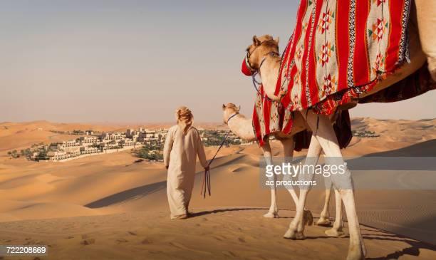 middle eastern man walking camels in desert - camel active stock-fotos und bilder