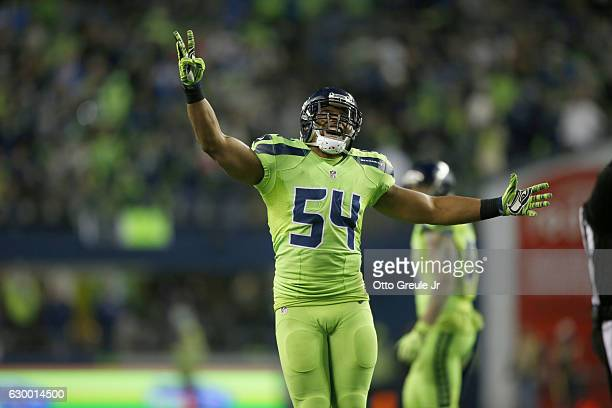 Middle linebacker Bobby Wagner of the Seattle Seahawks celebrates after a play against the Los Angeles Rams at CenturyLink Field on December 15 2016...