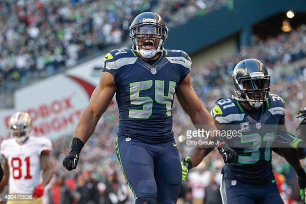 Middle linebacker Bobby Wagner of the Seattle Seahawks celebrates after sacking quarterback Colin Kaepernick of the San Francisco 49ers in the fourth...