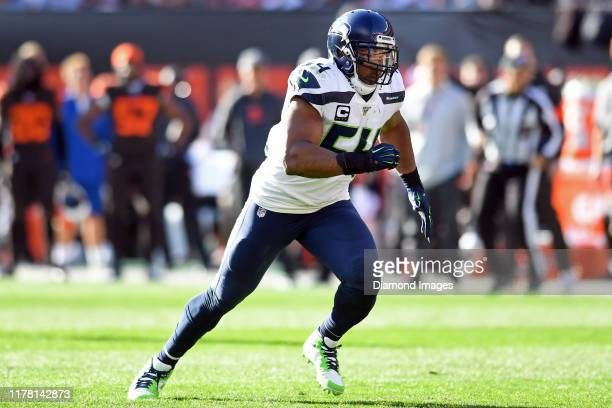 Middle linebacker Bobby Wagner of the Seattle Seahawks in action in the fourth quarter of a game against the Cleveland Browns on October 13, 2019 at...