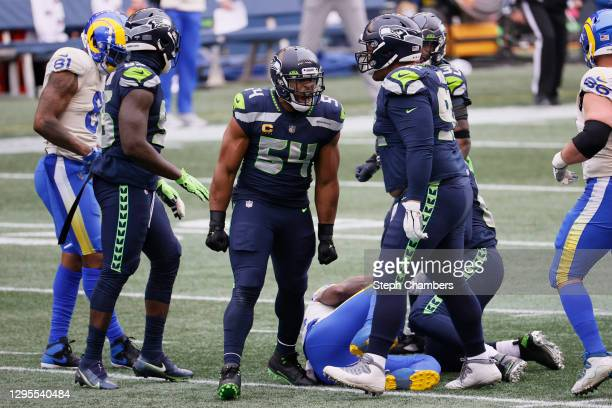 Middle linebacker Bobby Wagner of the Seattle Seahawks reacts after a play during the NFC Wild Card Playoff game against the Los Angeles Rams at...