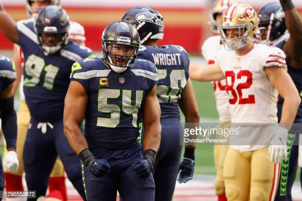 Middle linebacker Bobby Wagner of the Seattle Seahawks reacts to a sack against the San Francisco 49ers during the first half of the NFL game at...