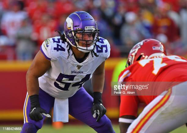 Middle linebacker Eric Kendricks of the Minnesota Vikings gets set on defense against the Kansas City Chiefs during the second half at Arrowhead...