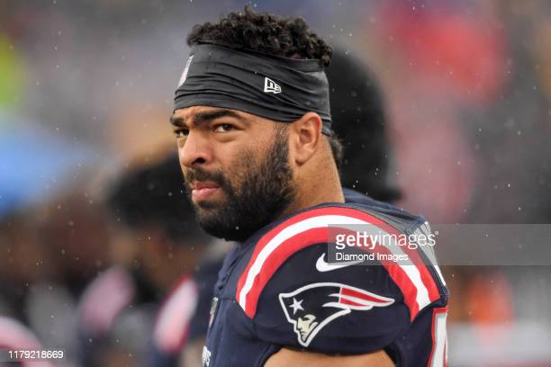 Middle linebacker Kyle Van Noy of the New England Patriots on the sideline prior to a game against the Cleveland Browns on October 27, 2019 at...