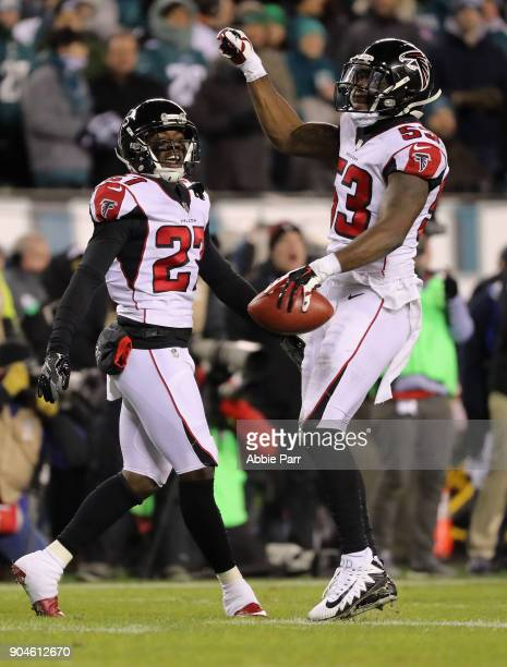 Middle linebacker LaRoy Reynolds and free safety Damontae Kazee of the Atlanta Falcons react against the Philadelphia Eagles during the second...