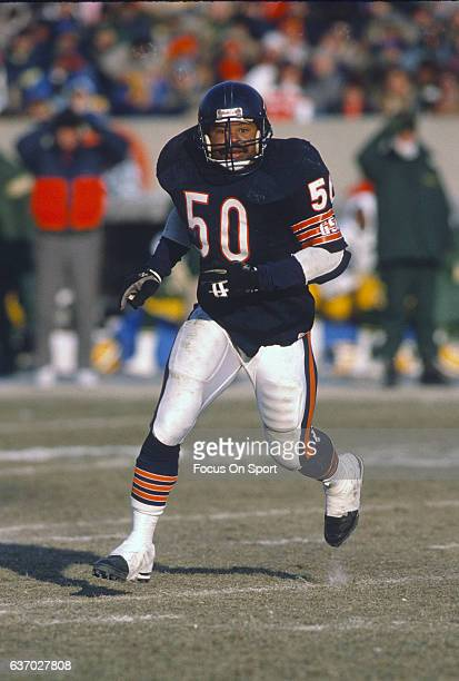 Middle Linebacker Mike Singletary of the Chicago Bears in action against the Green Bay Packers during an NFL football game circa 1989 at Soldier...