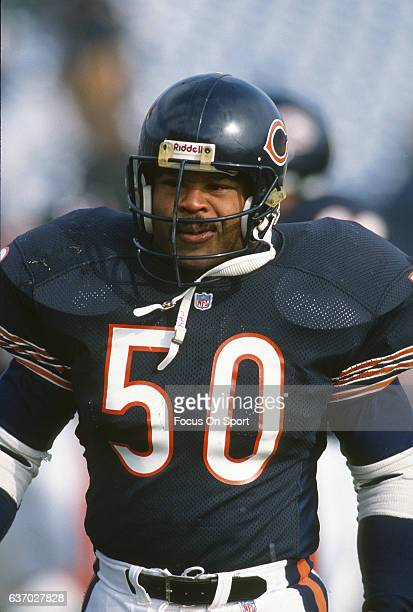 Middle Linebacker Mike Singletary of the Chicago Bears looks on during an NFL football game circa 1985 at Soldier Field in Chicago Illinois...