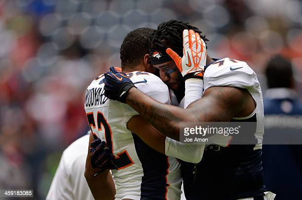 December 22: Middle linebacker Wesley Woodyard and defensive end Robert Ayers of the Denver Broncos before their game against the Houston Texans at...