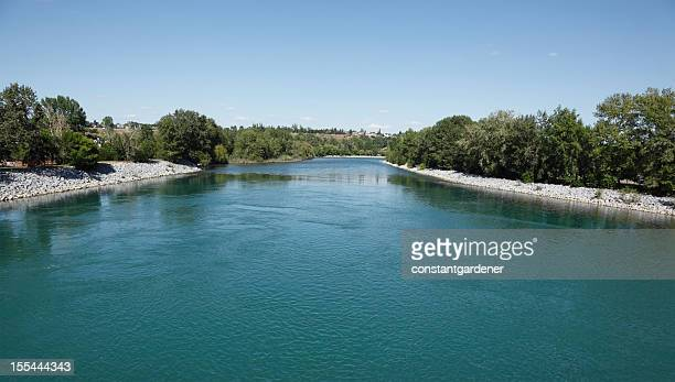 middle of the beautiful bow river calgary alberta - bow river stock pictures, royalty-free photos & images