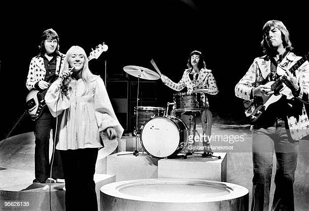 Middle of The Road perform live on Top Pop TV programme at Hilversum Studios Holland in 1972 LR Eric McCredie Sally Carr Ken Andrew Ian McCredie
