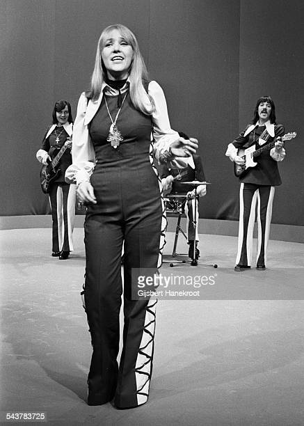 Middle of The Road perform on Top Pop TV programme at Hilversum Studios Netherlands in 1972 LR Eric McCredie Sally Carr Ken Andrew Ian McCredie