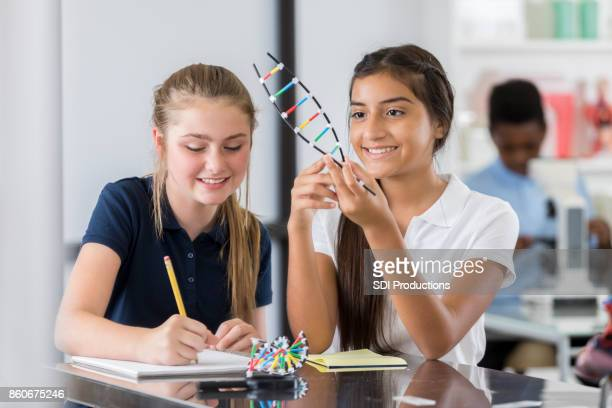 Middle school girls work on science project together
