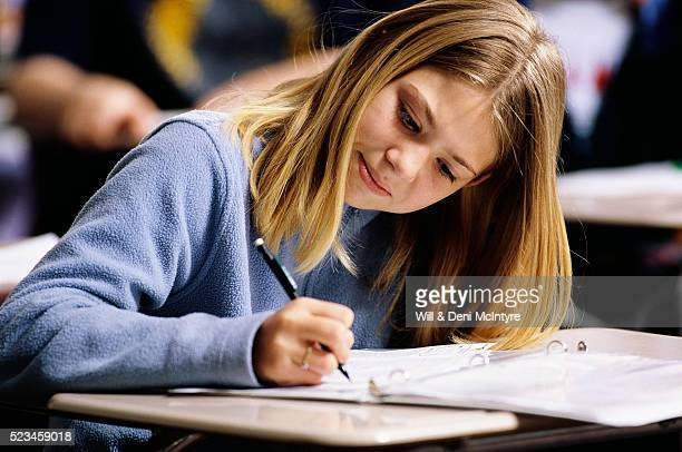 Middle School Student Working in Class