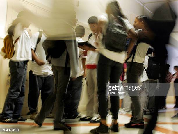 Middle school students mingle in the hallway after seventh grade math class at Virgil Middle School in Koreatown Tuesday Aug 162005 Recent test...