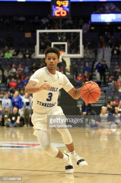 Middle Tennessee Blue Raiders guard Terence Davis drives to the basket in the first half of a game between the Middle Tennessee Blue Raiders and the...