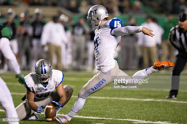 Middle Tennessee Blue Raiders PK Canon Rooker kicks a 38yard field goal during the first quarter of the NCAA Football game between the Middle...