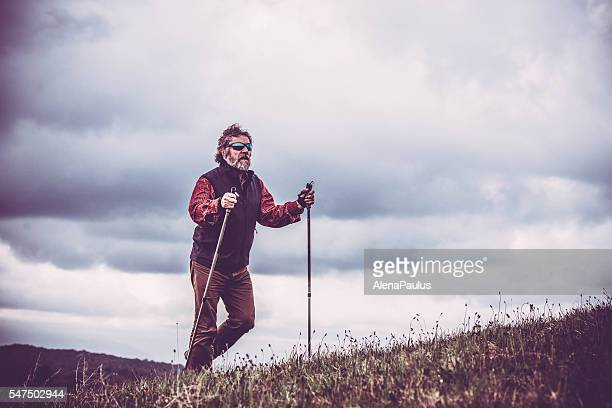 middle-age man exercising with a nordic walking technique - northern european stock pictures, royalty-free photos & images