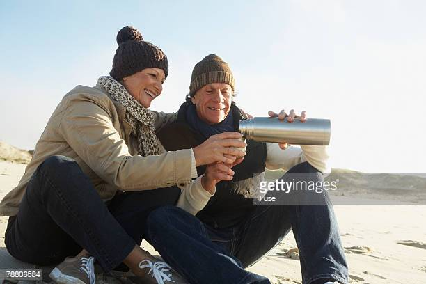 Middle-Aged Couple on the Beach