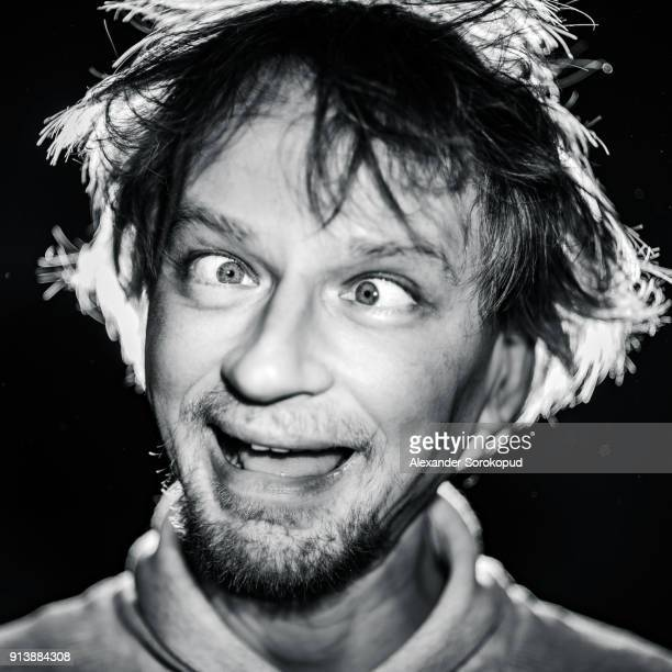 middle-aged man making mouths, crazy portrait, black and white - idiots stock pictures, royalty-free photos & images