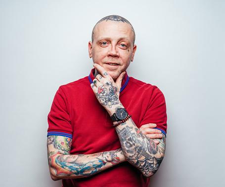 Middle-aged Punk Rocker - gettyimageskorea