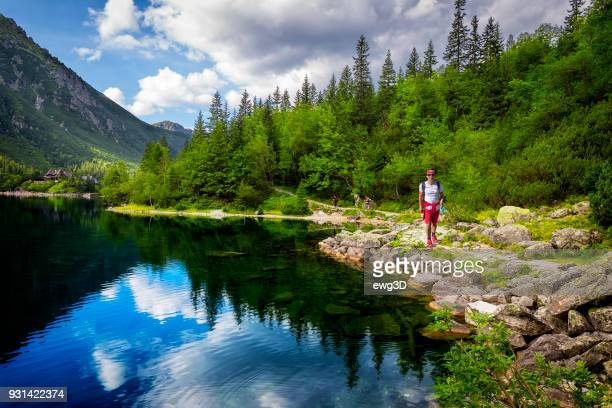 middle-aged tourist on a trip to the tatra mountains, poland - zakopane stock pictures, royalty-free photos & images