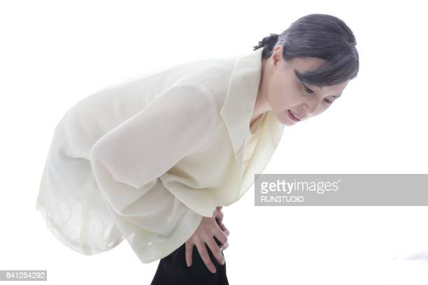 Middle-aged woman having knee pain