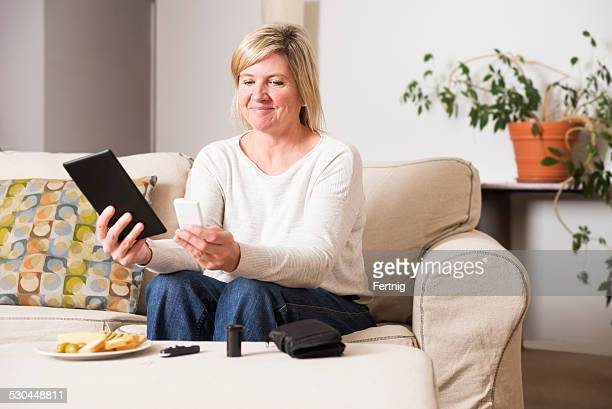 Middle-aged woman keeping her diabetes in check