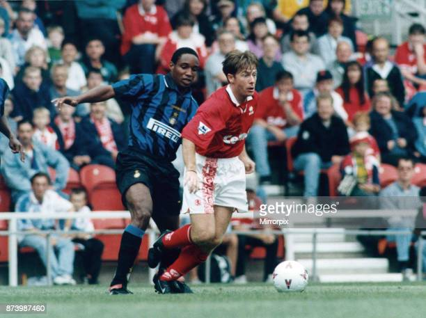 Middlebrough player Craig Hignett seen here in action against Paul Ince of Inter Milan in a friendly at the Riverside Stadium, 17th August 1996.