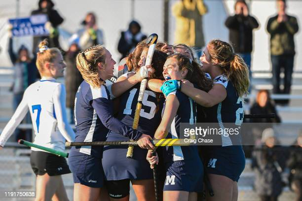 Middlebury celebrates after scoring during the Division III Women's Field Hockey Championship held at Spooky Nook Sports on November 24 2019 in...