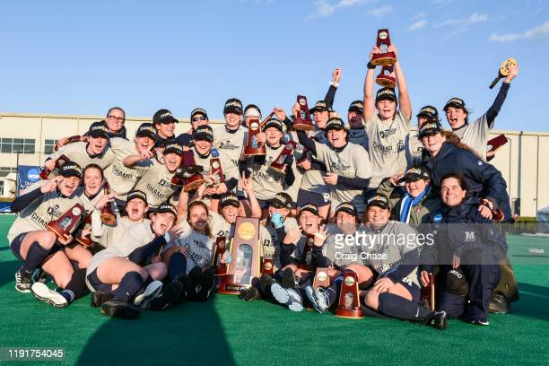 Middlebury celebrates after winning the Division III Women's Field Hockey Championship held at Spooky Nook Sports on November 24 2019 in Manheim...