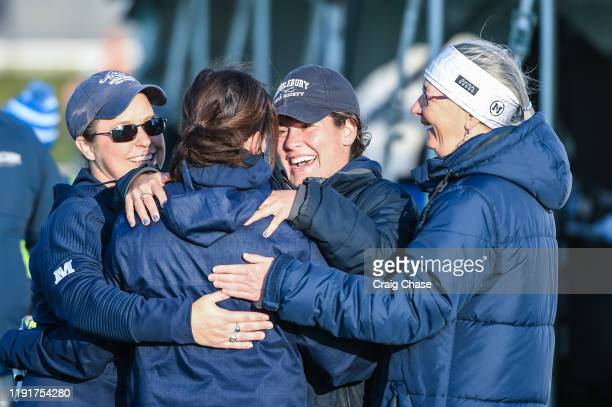 Middlebury coaches celebrate after defeating the Franklin Marshall Diplomats to win the Division III Women's Field Hockey Championship held at Spooky...