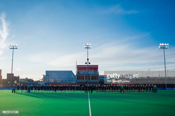 Middlebury College and Messiah College stand for player introductions during the Division III Women's Field Hockey Championship held at Trager...