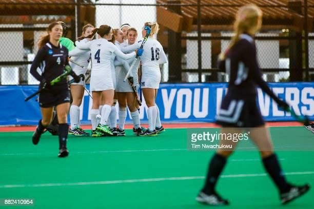 Middlebury College celebrates after scoring during the Division III Women's Field Hockey Championship held at Trager Stadium on November 19 2017 in...