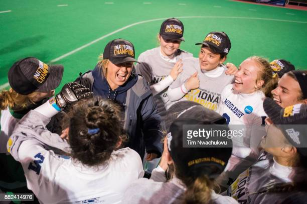 Middlebury College players celebrate after winning the Division III Women's Field Hockey Championship held at Trager Stadium on November 19 2017 in...