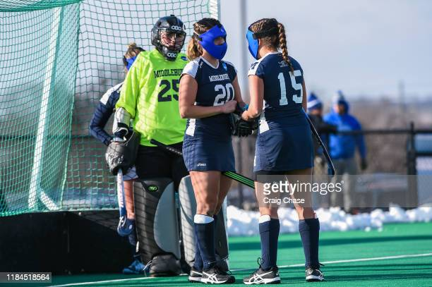 Middlebury Panthers Alison Denby Erin Nicholas and Goalie Grace Harlan plan for corner kick against Franklin Marshall Diplomats at the Division III...