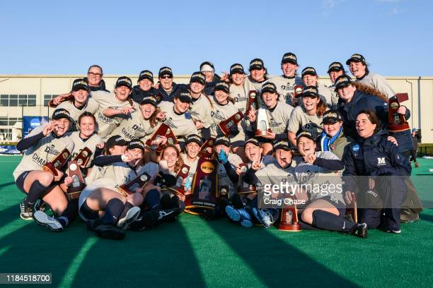 Middlebury Panthers celebrate after defeating the Franklin Marshall Diplomats at the Division III Women's Field Hockey Championship held at Spooky...