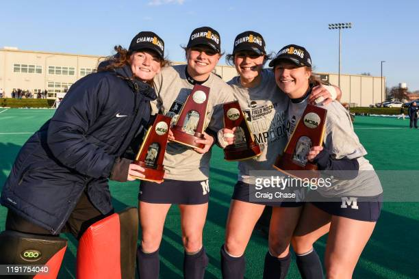 Middlebury players celebrate after defeating the Franklin Marshall Diplomats at the Division III Women's Field Hockey Championship held at Spooky...