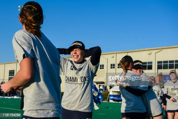 Middlebury players celebrate after winning the Division III Women's Field Hockey Championship held at Spooky Nook Sports on November 24 2019 in...
