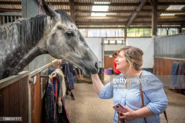 Middleham, England - A woman pets a horse within its stable stall, Yorkshire, UK.