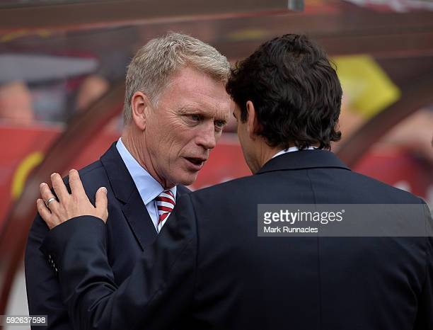 Middlesborough manager Aitor Karanka and Sunderland manager David Moyes talking ahead of kick off during the Premier League match between Sunderland...