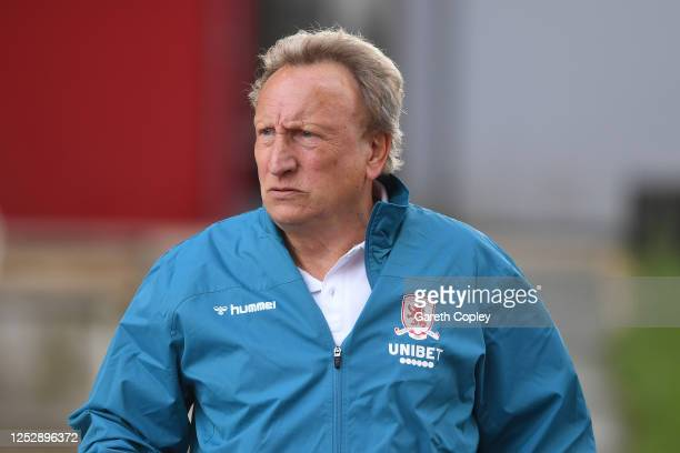 Middlesborough manager Neil Warnock looks on during the Sky Bet Championship match between Stoke City and Middlesbrough at Bet365 Stadium on June 27,...