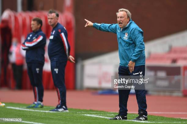 Middlesborough manager Neil Warnock shouts instructions during the Sky Bet Championship match between Stoke City and Middlesbrough at Bet365 Stadium...