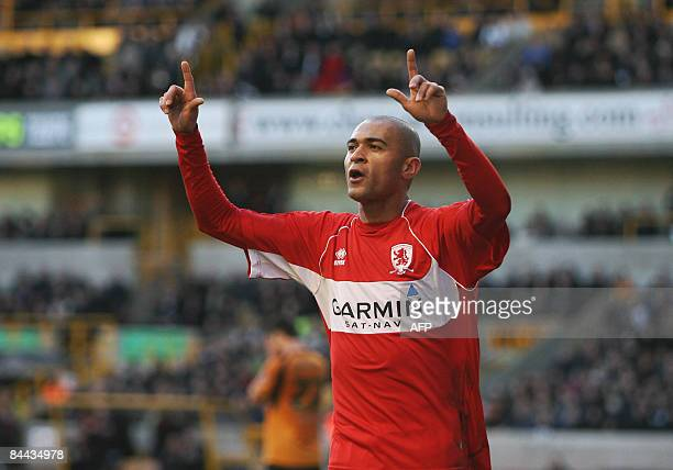 Middlesborough's Afonso Alves celebrates scoring the first goal against Wolverhampton Wanderers during their FA Cup football match at Molineaux in...