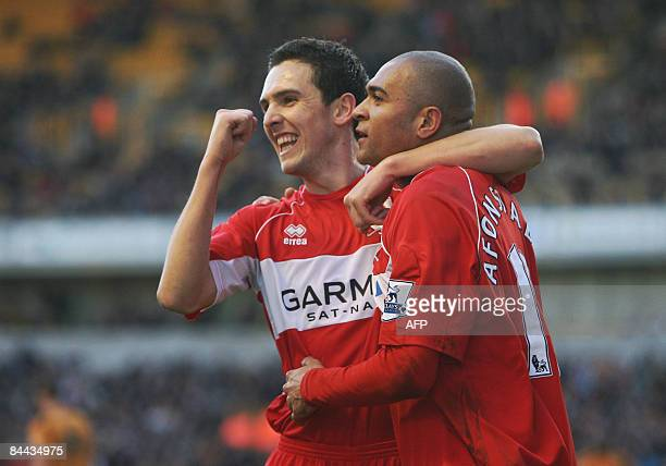 Middlesborough's Afonso Alves celebrates scoring the first goal with Stewart Downing against Wolverhampton Wanderers during their FA Cup football...